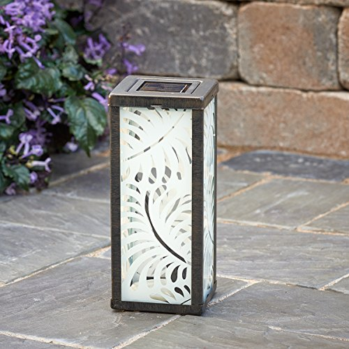 Smart Solar 3018WRM1 Palm Leaf Square Solar Lantern with Rechargeable Ni-MH Battery, One White LED Bulb and One Ground Stake for Up To 8 Hours of Illumination (1 Leaf Bulb)
