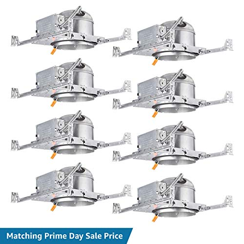 (TORCHSTAR 6-Inch Shallow New Construction LED Recessed Housing, IC Rated & Air Tight Ceiling Downlight Can with Junction Box, ETL Listed Slim/Narrow New Construction Housing, TP24 Connector, Pack of 8)