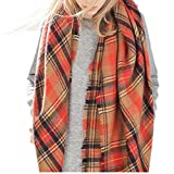 Jiamingyang Women's Oversized Cozy Plaid Checked Tartan Scarf Wrap Shawl (Orange)