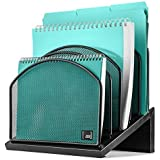 Inclined File Organizer by Mindspace, 5 Section Desktop Document Sorter | The Mesh Collection, Black