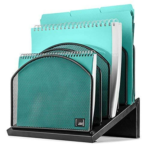 - Inclined File Organizer by Mindspace, 5 Section Desktop Document Sorter | The Mesh Collection, Black