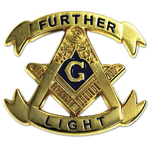 "Further Light Square & Compass Gold Masonic Lapel Pin - 1 1/8"" Tall from The Masonic Exchange"