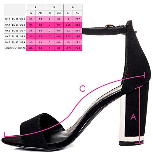 SPYLOVEBUY SACRED Damen Peep-Toe Blockabsatz Sandalen Schuhe Pumps Schwarz - Synthetik Wildleder