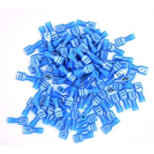 100pcs Female Fully Insulated Wire Crimp Terminal Nylon Quick Connectors Wiring Spade (Female)