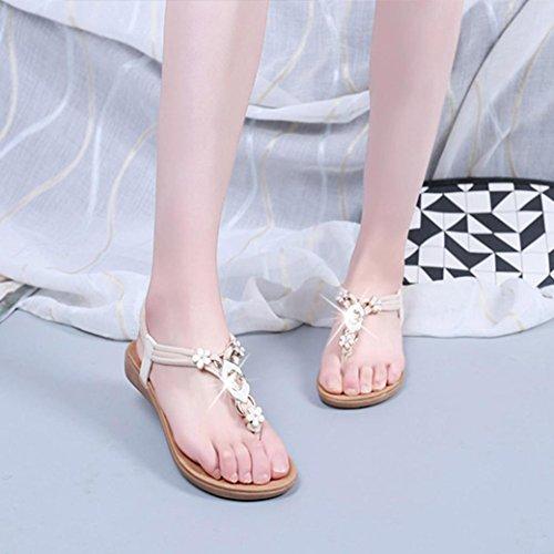Ouneed® Damen Sandalen , Damen Sommer flache Zehentrenner Schuhe Sequin Bohemia Freizeit Lady Sandalen Peep-Toe Flip Flops glitzer Bling Diamond Schuhe Beige