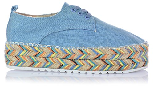 VICES Damen Espadrilles mit Hammer Plateau Jeansoptik Halbschuhe Schnürer Gr. 36-41 (Schuhe Fallen Kleiner Aus) Blau