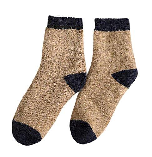 Sagton Dames Heren Casual Gebreide Wollen Sokken Warme Winter Laarsokken Kaki