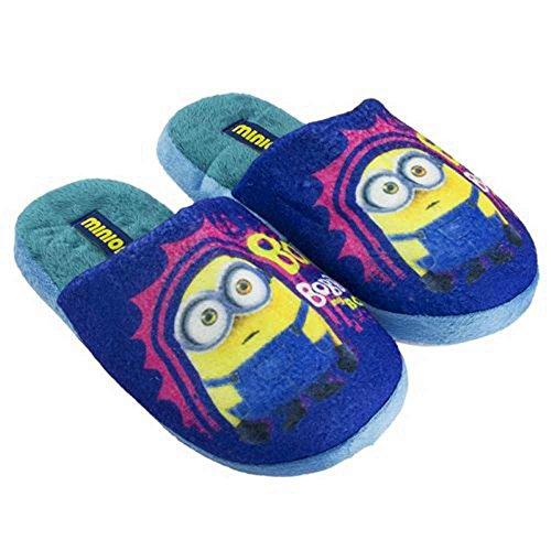 minions Despicable Me 2 CÁMARA EN FELPA zapatillas DE NIÑO UN93601 (27/28, azul)