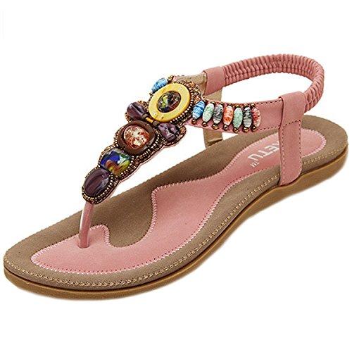 Plage Perles Chaussures Tete avec Cuir Été Sandales Bohême Plates pink Shoes en Rond Style Minetom Femmes Plage xq8YCxS