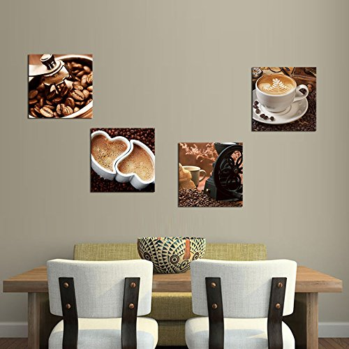 Set Of 3 Coffee Cup Canvas Wraps: Kitchen Canvas Art Coffee Bean Coffee Cup Canvas Prints