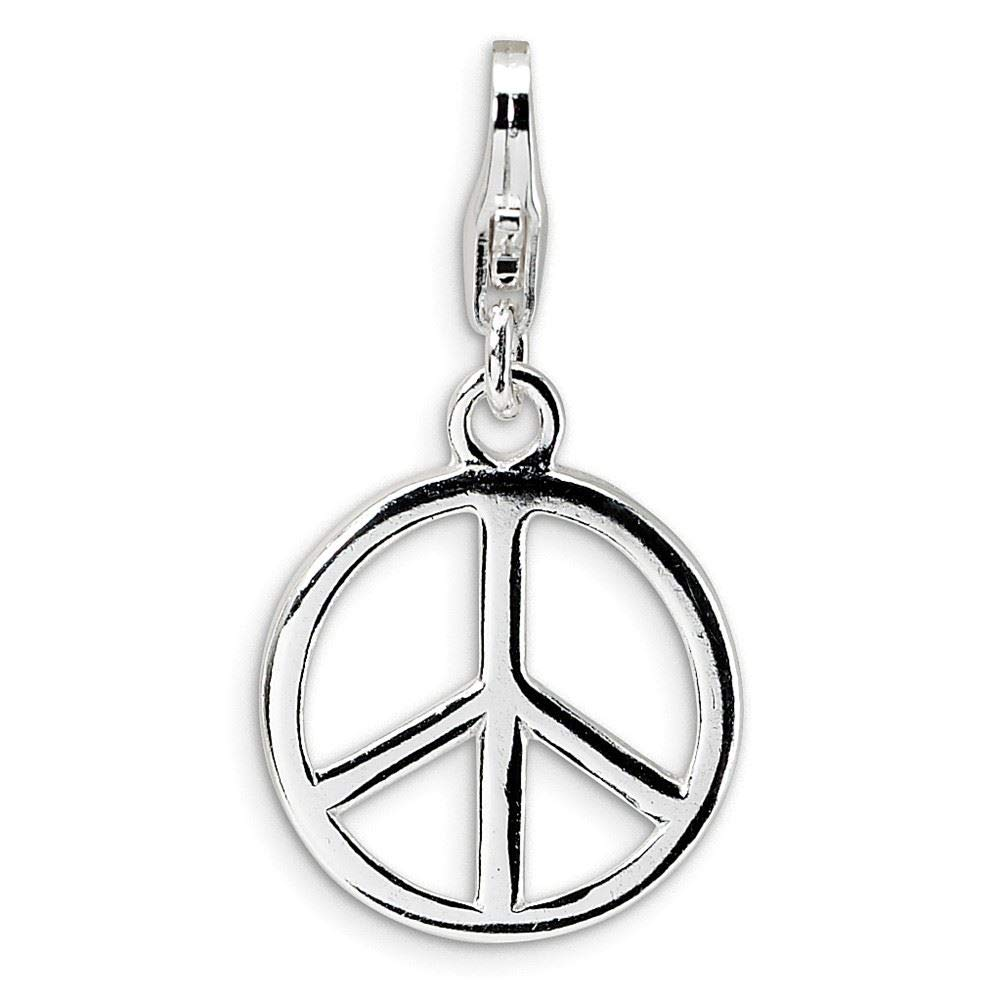 Amore La Vita Sterling Silver Small Polished Peace Sign Click-On Lobster Clasp Charm Pendant