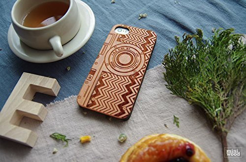Iphone 3g Cherry (Cherry Wood - Miniwood iPhone/Samsung Case - Natural Real Wooden, Protective Bumper with Real All Wooden Cover, Unique Case, Laser Engraving, Wooden Case for Apple iPhone)