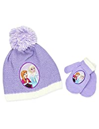 Frozen Elsa Anna Girls Beanie Hat and Mittens Set (Lilac)