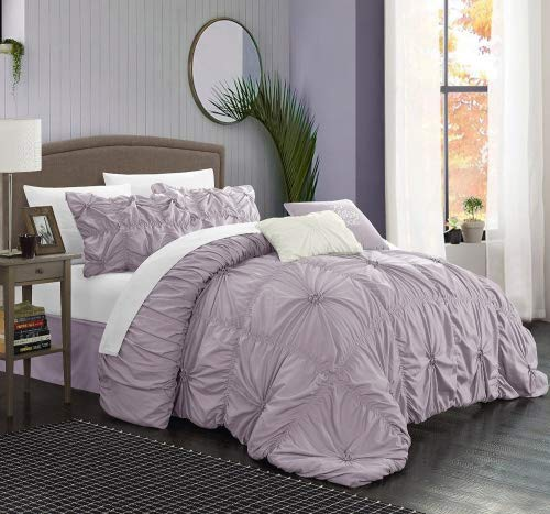 Chic Home CS1431-AN Halpert Floral Pinch Pleat Ruffled Desig