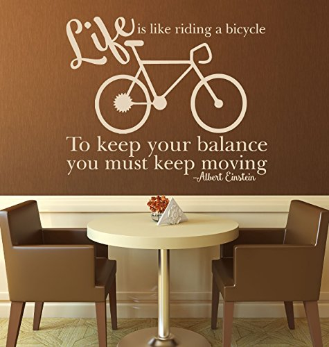 Quote Wall Decals -Life is Like Riding a Bicycle - Vinyl Decor for the Home, Office, or School Classroom ()