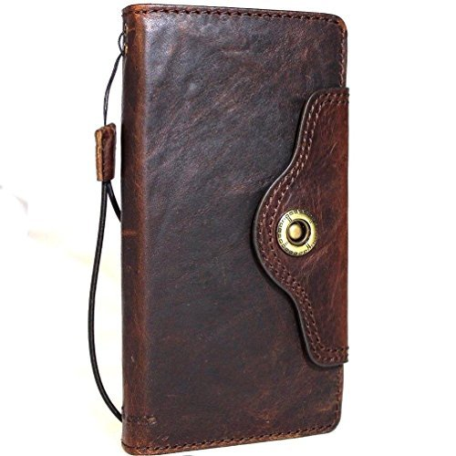 Genuine Leather Case for Samsung Galaxy Note 8 Book rustic Wallet strap closure cover Handmade rustic Retro Luxury cards slots brown Daviscase 2017