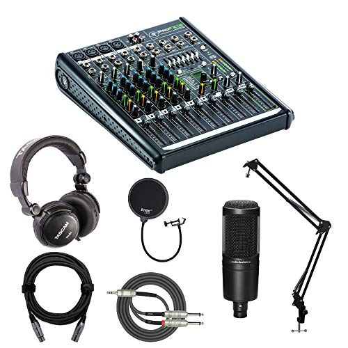 Mackie ProFX8v2 8-channel Effects Mixer with Mic, Knox Studio Stand, Pop Filter, Headphones, XLR and Breakout Cable