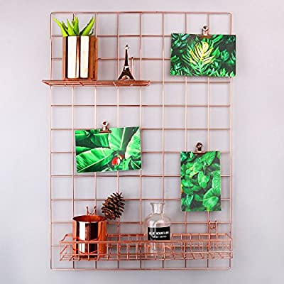 "Simmer Stone Rose Gold Wall Grid Panel for Photo Hanging Display & Wall Decoration Organizer, Multi-Functional Wall Storage Display Grid, 5 Clips & 4 Nails Offered, Set of 1, 17.7""x 25.6"" - Nails & Clips Offered For Your Convenience - Offers 5 chip bag clips & 4 non-trace nails. Giving you a comfortable way to set up. Adorable DIY Home & Office Wall Décor - Creating a different style for your room, taking some difference to your life, making a stunning life for yourself and your family. Perfect Display For Your Favorite - Great for cliping photo, postcard, artwork, kid's drawing or any thing you like. Decorate your wall at anywhere, anytime and any way you like. - picture-frames, bedroom-decor, bedroom - 51eP%2B84 4QL. SS400  -"