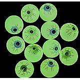 GIFTEXPRESS 24ct, 32MM Glow in the Dark Eyeball/Glow in the dark bouncing ball/Halloween Supplies/ Halloween Treats/Halloween Toys/Toy eyeball