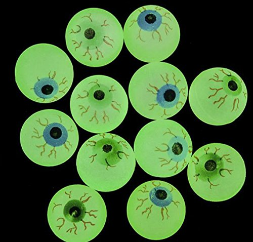 GIFTEXPRESS 24ct, 32MM Glow in the Dark Eyeball/Glow in the dark bouncing ball/Halloween Supplies/ Halloween Treats/Halloween Toys/Toy (Halloween Eyeballs)