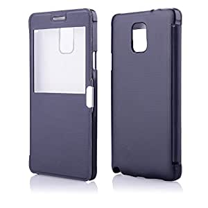 coverstop® Flip Carcasa Flipcover magnético View Azul con Ventana notificaciones llamadas funda para Samsung Galaxy Note 3N9000+ 1x protector de transparente pantalla de regalo gratis