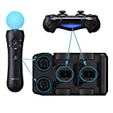 FastSnail Charger for PS4 Controller and PS Move Motion Controller, 4 in 1 Charging Station/Dock Black