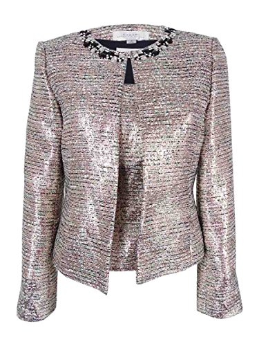 Tahari Women's 'Maurice' Metallic Jewel-Trim Top and Blazer Set (10, (Jewel Trim Jacket)