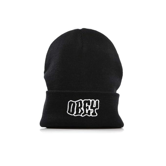 OBEY Cappello Risvolto Logo Ricamato Runnin Beanie Nero 3ae8502670dd