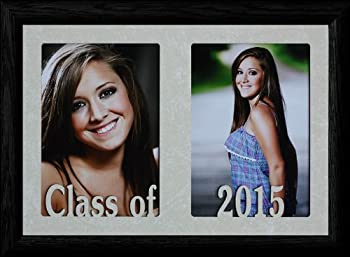 7x10 CLASS OF 2015 ~ Holds two portrait 4x6 or cropped 5x7 photos - Graduate Gift! (BLACK)