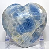 Large 2.2 lb 4.7'' Ice Sky Blue Calcite Puffy Heart Sparkling Natural Quartz Mineral Polished Crystal Decor Love Stone Heart - Madagascar + Acrylic Display Stand