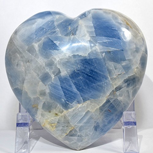Large 2.2 lb 4.7'' Ice Sky Blue Calcite Puffy Heart Sparkling Natural Quartz Mineral Polished Crystal Decor Love Stone Heart - Madagascar + Acrylic Display Stand by HQRP-Crystal