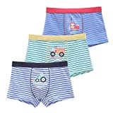 CHUNG Little Boys Toddlers Cartoon Cotton Boxer Briefs Stripe Dinosaur Bear Cowboy 3-7Y,StripeTruck,3-4T