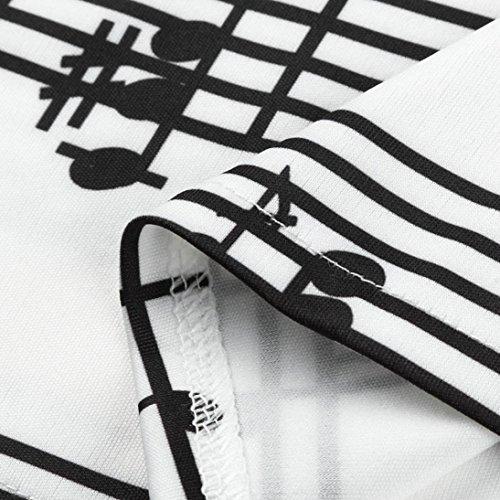 Taille Balançoire À Épaule Femmes Xl Nouveau Notes Grande Élégant Impression Irrégulier Manche S Robe Mode Soirée Musique Jupes Cocktail Courte Blanc Adeshop Vintage Nu De BO8Rqxq