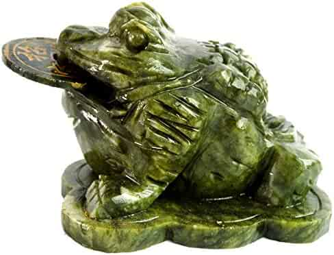 Statue Magic Money Frog Toad Big Natural Jade Sculpture Feng Shui for Rich Wealth Home Decoration