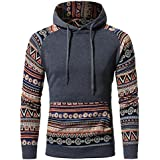 Mens Sweatshirt,FUNIC Retro Design Long Sleeve Hoodie Hooded Sweatshirt Tops Jacket Coat Outwear (L, Dark Gray)