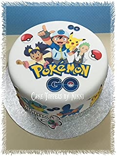 Pokemon Go 75 Inch PERSONALISED Square Edible Cake Topper