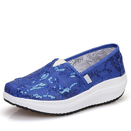 Cybling Lentejuelas Cuña De La Plataforma De Viaje Zapatillas De Deporte Para Las Mujeres Cómodo Holgazán Deportes Al Aire Libre Zapatos Azul