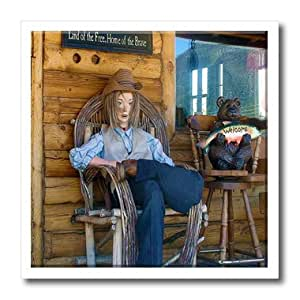 ht_48277_2 Jos Fauxtographee Realistic - Mannequin on Old Lodge Porch in Pine Valley, Utah with Land of Free Home of the Brave Sign Behind it - Iron on Heat Transfers - 6x6 Iron on Heat Transfer for White Material
