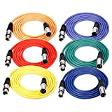 Neewer® 6-Pack 6.5ft/2M XLR Male To XLR Female Color Microphone Cables Rubber Shielded Patch Cable Cords Balanced Snake Cords (Green, Blue, Purple, Red, Yellow and Orange)