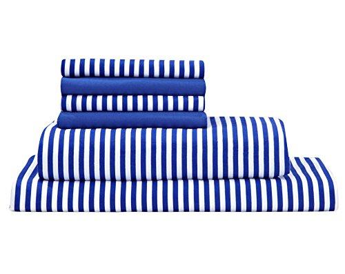 Debra Valencia Awning Striped Sheets By Duke-King-Regatta Blue/White-6 Pc Set 2 Bonus pillowcases! (Blue And White Striped Pillows)