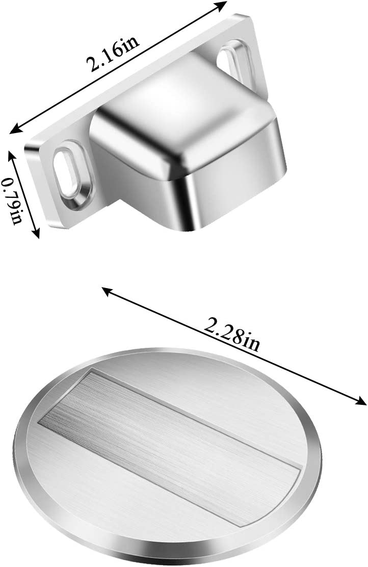 No Drilling Door Stoppers Magnetic Door Stoppers with 3M Self Adhesive and Conceal Screw Mount 2 Packs Stainless Steel Magnetic Door Stoppers