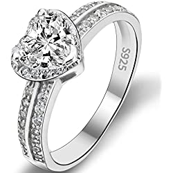 EVER FAITH 925 Sterling Silver Love Heart Cut CZ Valentine's Day gift