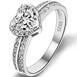 EVER FAITH 925 Sterling Silver Love Heart Cut CZ Wedding Engagement Ring Clear - Size 7