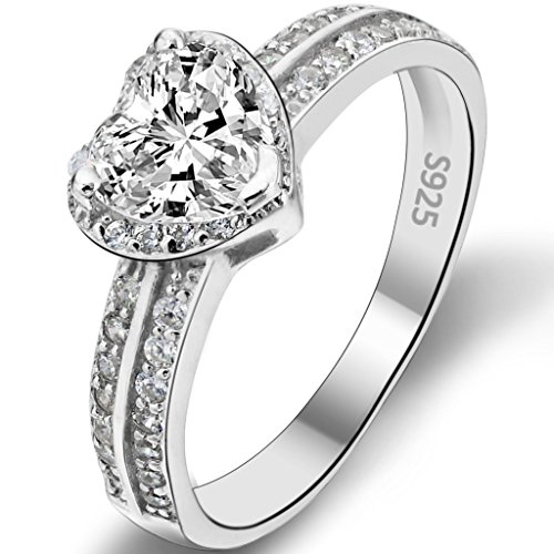 EVER FAITH 925 Sterling Silver Love Heart Cut CZ Wedding Engagement Ring Clear - Size 8