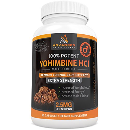 Yohimbine HCl 2.5 mg, 90 Capsules - Yohimbe Bark Extract for Men and Women - Fat Burner Supplement Plus Increased Energy and Libido