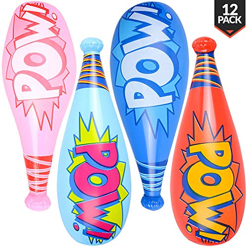 Bedwina Pow Inflatable Baseball Bats - (Pack of 12) Oversized 20 Inch Inflatable Toy Bat, Carnival Prizes, Goodie Bag Favors or Superhero Birthday Party Prizes for Kids