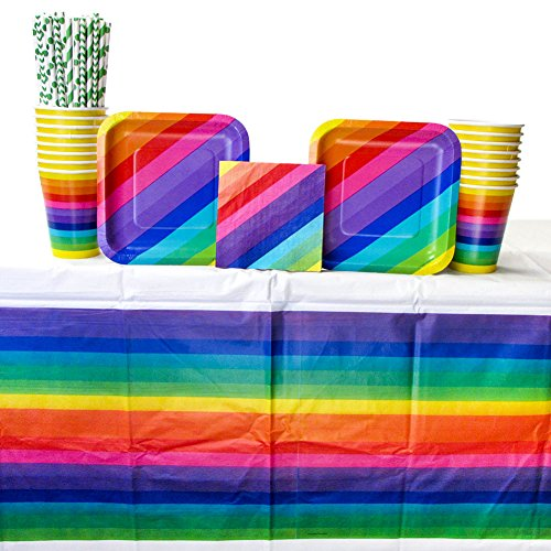 Rainbow Party Supply Pack for 16 Guests: Straws, Dessert Plates, Beverage Napkins, Cups, and Tablecover (Bundle for -