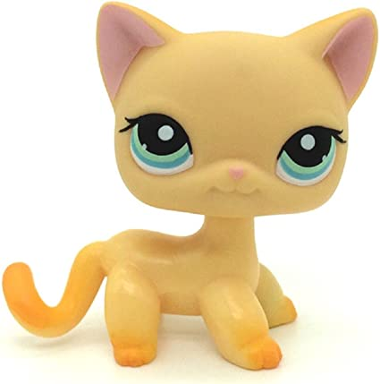 Littlest Pet Shop LPS 339 Short Hair Cat Yellow Kitty Birthday Gift For Kid Toy