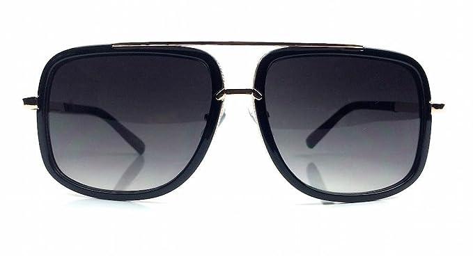 58d4a201abb3 Mach Square Aviator Large Metal Plastic Frame Men Women Sunglasses (Black  Gold)