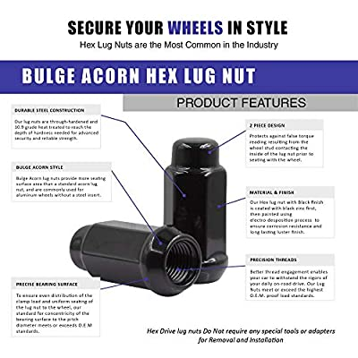 Wheel Accessories Parts 20 Black Bulge Acorn Conical Seat 9/16-18 Thread 1.90 in Long for Trucks 19mm(3/4